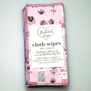 Grateful Casa Accessories - 10 reusable CLOTH WIPES mixed pinks